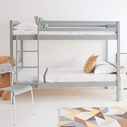 WestWood 3FT Bunk Bed Wooden Frame Children Sleeper No Mattress Single Grey Furniture New