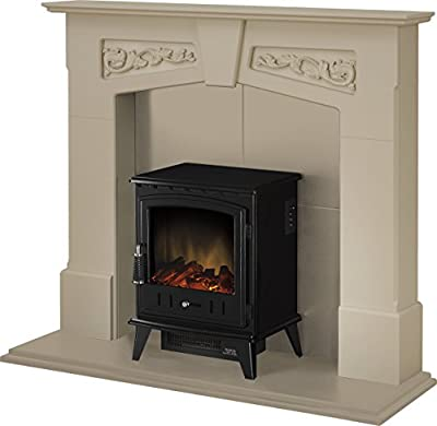 Adam Richmond Inglenook Stove Suite in Stone Effect with Aviemore Electric Stove in Black, 48 Inch