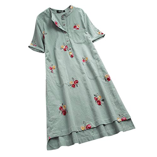 POPLY Frauen Blusenkleid Beiläufige Unregelmäßige Blumen Gestickte Taschen Kurze Hülsen Weinlese Kleider