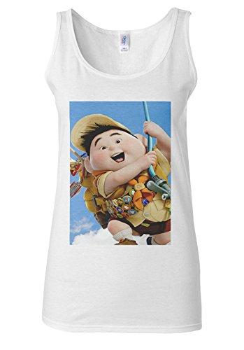 Up Pixar Animation Fat Kid Fly Baloon White Women Vest Tank Top **Blanc