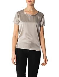Daniel Hechter Damen Bluse Seide Blusenshirt Unifarben, Größe: 40, Farbe: Beige