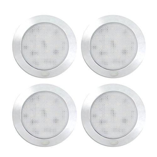 Dream Lighting 12V LED Deckenleuchte Innenbeleuchtung Dimmbar mit Verchromter Oberfläche 76MM Warmweiß 3000K 4 Stücke (Fern-panel)