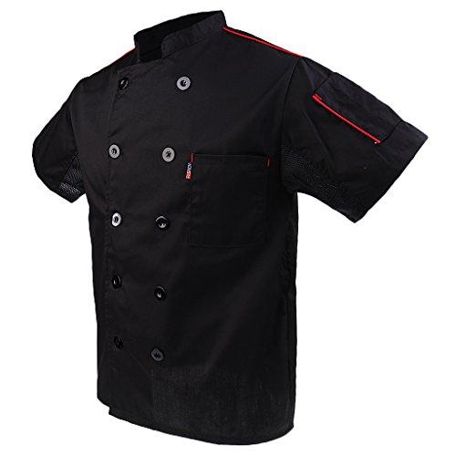 Baoblaze Kurzarm Kochjacke Bäckerjacke Chef Mantel Jacke Restaurant Koch Uniform Kochmantel - Schwarz, 3XL