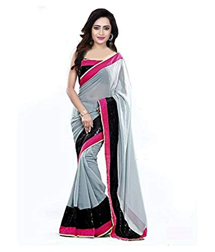 Onlinehub Women\'s Marble Saree With Blouse Pieace (Black) Grey