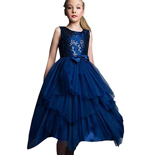 Lazzboy Karneval Tutu Kleid Kleidung Kind Mädchen Spitze Bowknot Prinzessin Wedding Performance (Höhe 140,Blau)