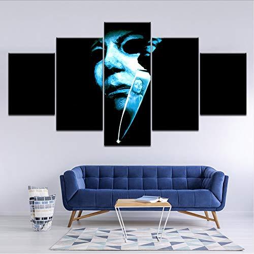 rei Halloween: Der Fluch Von Michael Myers 5 Stücke Wandkunst Malerei Modulare Tapeten Poster Home Decor ()