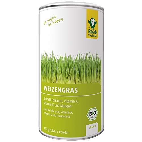 Raab Vitalfood Bio Weizengras-Pulver mit Folsäure & Vitamin K, für Smoothies, vegan, glutenfrei, hergestellt & laborgeprüft in Deutschland, 140 g