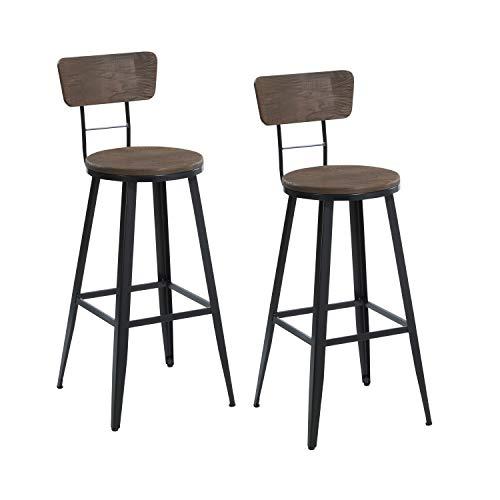 THC Living Metall Barhocker Industrie Design mit Holz Lehne & Sitz - 2er Set - schwarz Dunkelbraun Barstuhl Tresenhocker Bistrohocker