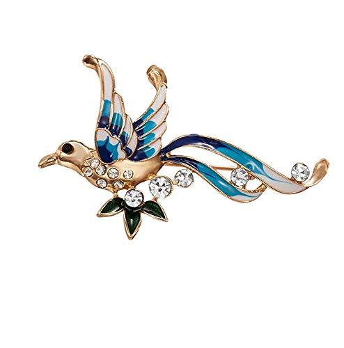 X-Z Strass Phoenix Broschen für Frauen Navy Blue Color Bird Pins und Broschen Mode Hochzeit Broschen (Bird Pin Blue)