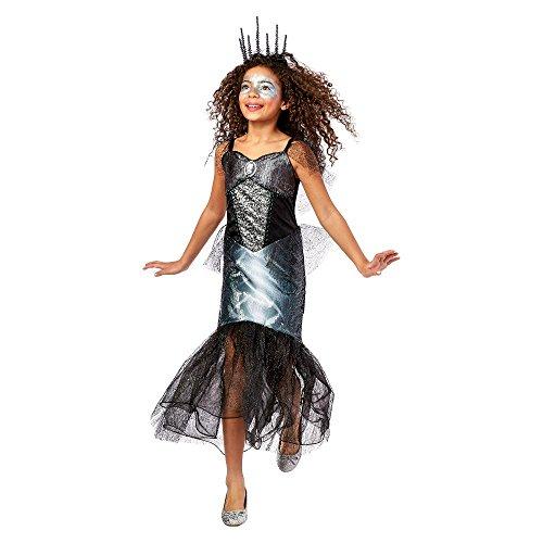 Unbekannt Skeleton Mermaid Meerjungfrau Silber Schwarz Fasching Halloween Karneval Kostüm Kleid Mädchen (Small - Schwarz Und Silber Meerjungfrau Kostüm