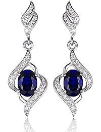 JewelryPalace 2.2ct de las mujeres creó el zafiro azul cuelgan los pendientes genuinos de la plata esterlina 925