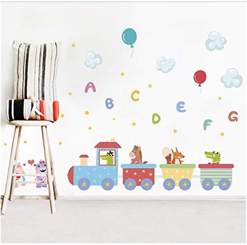 GKAWHH Animaux De Dessin Animé Train Parc Stickers Muraux Chambre Chambre d'enfant Décorations pour La Maison 50 * 70 Cm Stickers Muraux PVC Peinture Murale Bricolage Papier Peint 121 * 71Cm