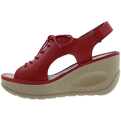 Fly London Womens JART 862 Leather Sandals Lipstick Red