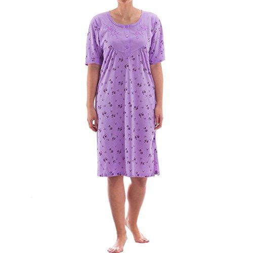 Zeitlos Nachthemd kurzarm mit floralem Druck (XL, Flieder)