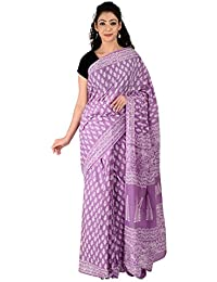 00fc2fb965387 Aaditri Clothing Women s Cotton Saree With Blouse Piece (Purple)