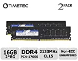 Timetec Hynix IC 16GB Kit (2x8GB) DDR4 2133MHz PC4-17000 Unbuffered Non-ECC 1.2V CL15 2Rx8 Dual Rank 288 Pin UDIMM Desktop Arbeitsspeicher Module Upgrade (16GB Kit (2x8GB))