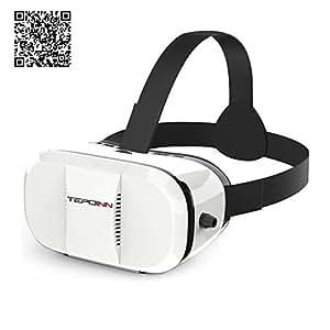 Tepoinn 3D VR occhiali di realtà virtuale Auricolare per i film 3D e giochi Compatibili con 4.7 ~ 6.0 pollici Smartphone iPhone 5 / 5s / 6 / 6s, Samsung S5 / S6 edge, Note 5/4 (2016 Generation Versione aggiornata -Cartone realta virtuale 3D VR) …