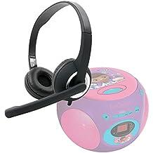 DURAGADGET Auriculares de diadema negros con micrófono móvil, mando de volumen y doble salida minijack para Reproductor de CD Doctora Juguetes | Frozen | Spider-Man | Cars | Princesas Disney`| Avengers