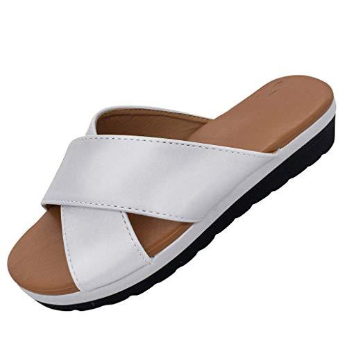 BASACA Sandalen Damen Frauen Wohnungen Keile Offene Zehe Ankle Sommer Schuhe Frau Römische Mode 2019 (36 EU, Silber-A) - Gola-spitze Schuhe