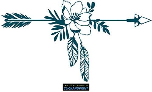eber » Pfeil mit Blumen und Federn, 170x92,4cm, Metallic Teal • Dekoaufkleber/Autoaufkleber / Sticker/Decal / Vinyl ()