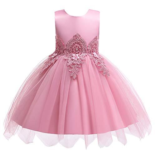LSAltd Mode Kind Kind Mädchen süße Blume Bestickt Tüll Kleid Ball Prinzessin Kleid schöne Reine Farbe ärmelloses Partykleid -