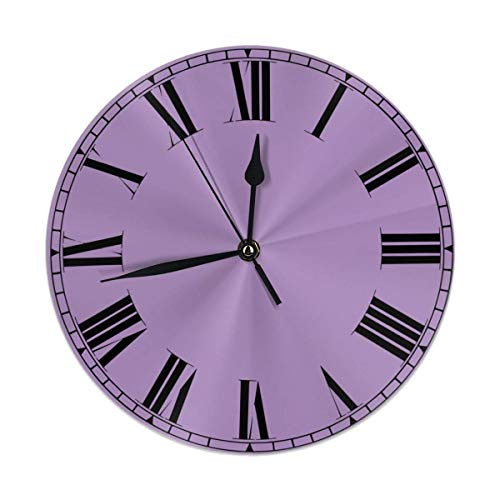 Hectwya JTny-Art Solid Color Purple Silent Non Ticking Wanduhr Decorative Round Wanduhr Battery Operated -