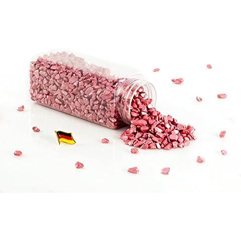 Granulado decorativo / Piedras decorativas ASLAN, color rojo brillante, 5 - 10 mm, 605 ml bote, Producido en Alemania - Piedrecitas de colores - monsterkatz