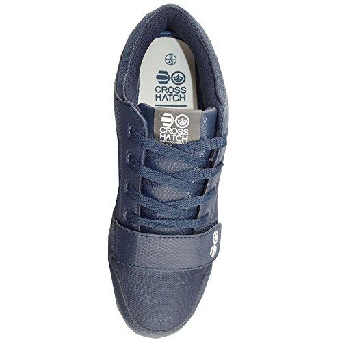 Baskets Pour Homme hachuré style nouvelle Sangle Velcro pour Mode Casual Faible Baskets Bleu - bleu