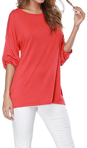 Yeesea Femme Casual Lâche Tee Shirt Blouse Manches Longues Top Haut Mode Chemisier Rouge