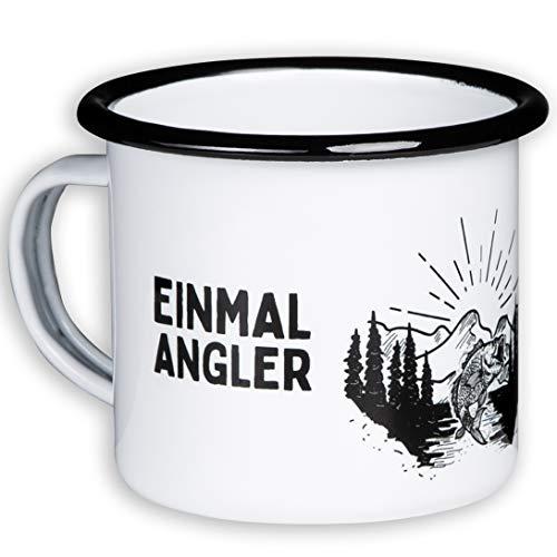 r Emaille Becher mit Angel und Fisch Motiv - EINMAL Angler, Immer Angler - leicht und bruchsicher - von MUGSY.de ()