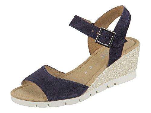 Gabor Karen, Damen Durchgängies Plateau Sandalen, Blau(ocean (Jute)), 39 EU - Wedges Schuhe Frauen Sandalen