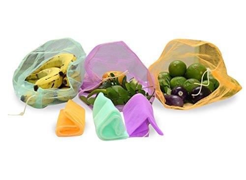 Sio Set of 6 Multi-purpose Pull String Mesh Fridge Vegetable Storage Bags (2 Pack) LARGE