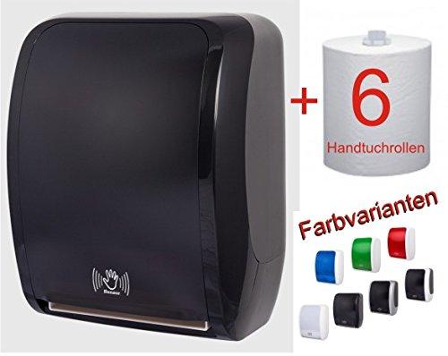 TSK-System Papierhandtuchspender im Profiset - Hochwertiger silber/schwarz Handtuchspender für Papierhandtücher mit Sensorfunktion und Strom- oder Batteriebetrieb - Inklusive 6 Rollen Papierhandtücher