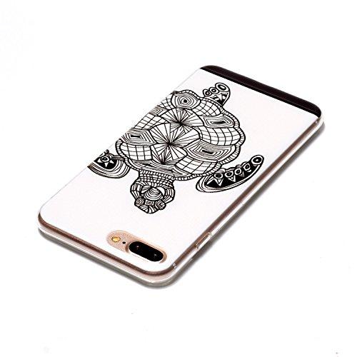 iPhone 7Plus Étui, iPhone 7Plus Coque en silicone transparente, jawseu iPhone 7Plus 5.5corpeture Case créatif dessin Super Fine cristal clair étui pour iPhone 7Plus Case anti-chocs Anti-scratch S tortoise/tpu