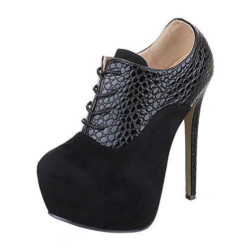 Ital-design Stivaletti Donna Scarpe Chelsea Stivali Penny / Tacco A Spillo Tacco Alto Lacci Stivaletti Neri
