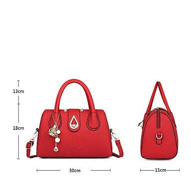 Le donne della moda ricamo PU in pelle Tracolla Messenger Crossbody borse/borsa borse,viola khaki