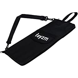 Rayzm Drum Stick Bag with an External Pocket, Standard Polyester Stick Bag with a Carry Handle and Floor Tom Hooks, Inside 4 Slots Holds up to 12 Pairs of Drumsticks