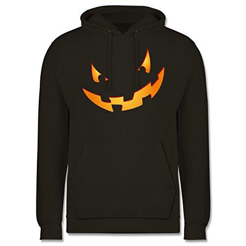 Shirtracer Halloween - Kürbisgesicht klein Pumpkin - XS - Olivgrün - JH001 - Herren Hoodie