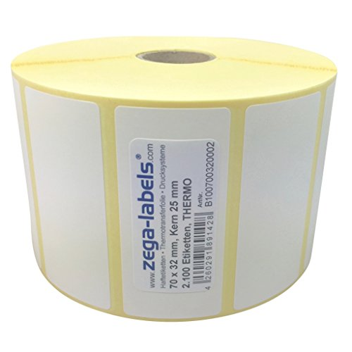 Thermo Etiketten auf Rolle - 70 x 32 mm - 2.100 Stück je Rolle - Kern: 25 mm - aussen gewickelt - permanent haftend - Druckverfahren: Thermodirekt (Drucken ohne Farbband) -