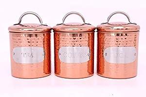 Lot de boîtes à thé, café, sucre en cuivre martelé or rose en acier