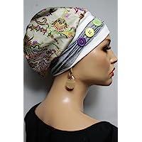 Beanie Mütze Ballonmütze Sommerlich bunt mit Band little things in life Chemo Cap Hat Chemomütze Mütze bei Krebs Kopfbedeckung Turban