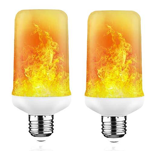 LED Flame Effekt Glühbirne, E27 Standard Base flackernde Feuer GlühBirnen 7W 350 Lumen mit auf den Kopf gestellte Funktion für Halloween WeihnachtsHaus Hotel Bars Dekoration (2 Packung)