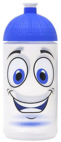 Original ISYbe Marken-Trink-Flasche für Klein-Kinder, 500 ml, BPA-frei, Gesicht-Motiv für Mädchen & Jungen, für Schule-Reisen-Kita-Kiga-Outdoor, Auslaufsicher auch mit Sprudel, Spülmaschine-fest