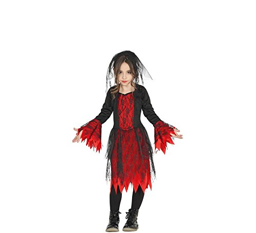 Vampir Kind Gothic Kostüm - Gothic Braut Kostüm für Mädchen Halloween Horror Halloweenkostüm Gr. 98 - 146, Größe:110/116