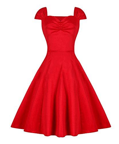 Ghope Robe de Années 50's Audrey Hepburn Pin-Up Robe De Soirée Cocktail Swing Classique Fete de Princesse Rouge