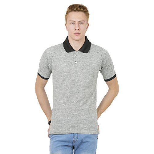 Thriller Frog Solid Men's Polo Neck Gray & Black T-Shirt