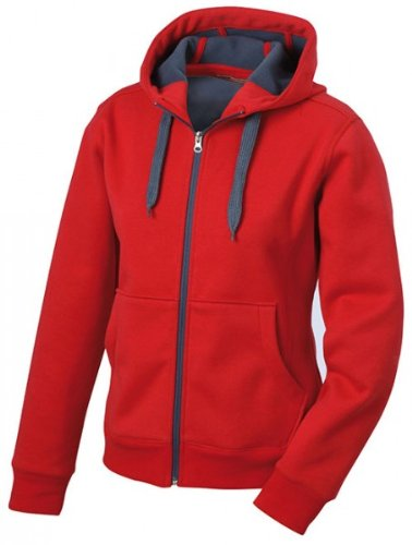 Double Face Zip (James & Nicholson Damen Bondingjacke Doubleface M,Rot/Carbon)
