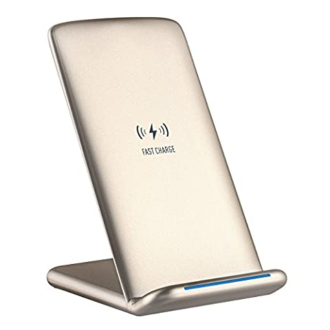 Qi Chargeur sans Fil Rapide, Holife Chargeur Induction pour Samsung Galaxy Note 8 / S8 / S8 Plus / S7 / S7 Edge / S6 Edge Plus / Note 5 et Charge Standard pour iPhone 8 / iPhone 8 Plus / iPhone X, Or