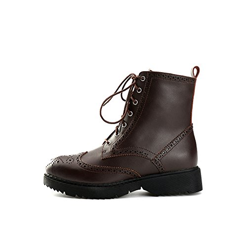 ... Alexis Leroy Klassisch Leder Brogue Schnürhalbschuhe Damen Combat Boots  Braun ...