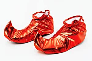 Red Medieval Court Jester Shoe Covers Clown Circus Joker Pixie Fancy Dress
